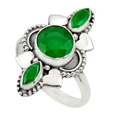 Clearance Sale- 4.43cts natural green chalcedony 925 sterling silver ring size 7.5 d32697