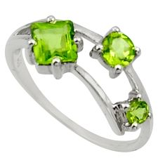 2.72cts natural green peridot 925 sterling silver ring jewelry size 7.5 d32705