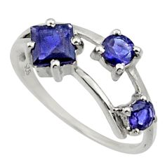 2.50cts natural blue iolite 925 sterling silver ring jewelry size 7 d32706