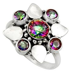 4.23cts multi color rainbow topaz 925 sterling silver ring size 8.5 d32708