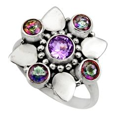 Clearance Sale- 925 silver 3.62cts natural purple amethyst rainbow topaz ring size 7.5 d32709