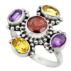 Clearance Sale- 6.31cts natural red garnet amethyst 925 sterling silver ring size 8.5 d32718