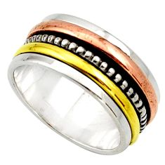 Clearance Sale- 925 silver 6.03gms victorian 14k gold two tone spinner ring size 7 d32725