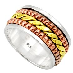 Clearance Sale- 7.26gms victorian 925 silver 14k gold two tone spinner ring size 7 d32732