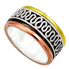 Clearance Sale- 7.03gms victorian 925 silver 14k gold two tone spinner ring size 6.5 d32735