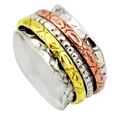 Clearance Sale- 7.69gms victorian 925 silver 14k gold two tone spinner ring size 8 d32737
