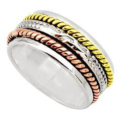 6.03gms victorian 925 silver 14k gold two tone spinner ring size 7.5 d32740
