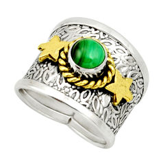 1.13cts victorian natural green malachite 925 silver two tone ring size 7 d32748