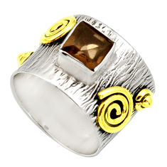 1.10cts victorian brown smoky topaz 925 silver two tone ring size 5 d32749