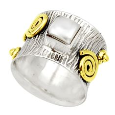 1.20cts victorian natural white pearl 925 silver two tone ring size 6.5 d32750