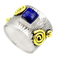 1.18cts victorian natural lapis lazuli 925 silver two tone ring size 6.5 d32752