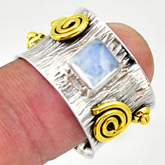 1.20cts victorian natural rainbow moonstone silver two tone ring size 6.5 d32755