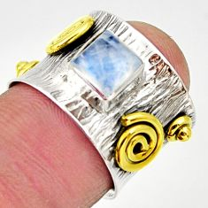1.10cts victorian natural rainbow moonstone silver two tone ring size 5.5 d32756
