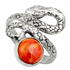3.13cts red copper turquoise 925 silver snake solitaire ring size 6.5 d32765