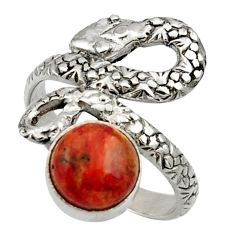 Clearance Sale- 3.14cts red copper turquoise 925 silver snake solitaire ring size 6.5 d32768