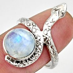 Clearance Sale- 5.38cts natural rainbow moonstone silver snake solitaire ring size 6.5 d32775