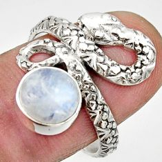Clearance Sale- 3.18cts natural rainbow moonstone silver snake solitaire ring size 7.5 d32779