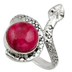 Clearance Sale- 5.52cts natural red ruby 925 silver snake solitaire ring jewelry size 8 d32782