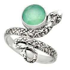 Clearance Sale- 3.19cts natural aqua chalcedony 925 silver snake solitaire ring size 8 d32787