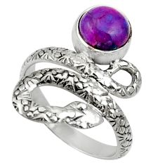 Clearance Sale- 3.35cts purple copper turquoise 925 silver snake solitaire ring size 8.5 d32797