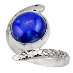 5.38cts natural blue lapis lazuli 925 silver snake solitaire ring size 9 d32806