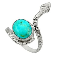 4.64cts arizona mohave turquoise 925 silver snake solitaire ring size 8.5 d32809