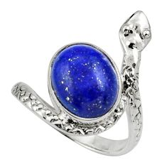 Clearance Sale- 5.13cts natural blue lapis lazuli 925 silver snake solitaire ring size 8 d32811