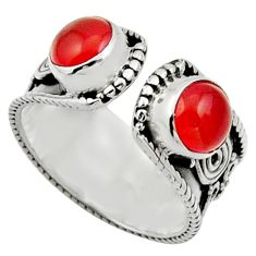Clearance Sale- 2.12cts natural orange cornelian 925 silver adjustable ring size 5.5 d32814
