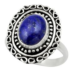 Clearance Sale- 4.22cts natural blue lapis lazuli 925 silver solitaire ring size 7 d32832