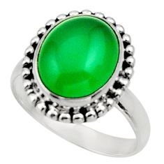 Clearance Sale- 5.03cts natural green chalcedony oval 925 silver solitaire ring size 6.5 d32842