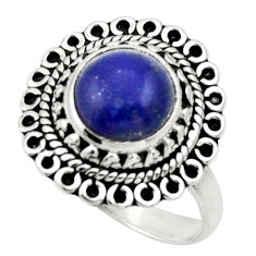 Clearance Sale- 5.11cts natural blue lapis lazuli 925 silver solitaire ring size 7 d32843