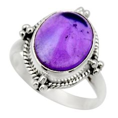 Clearance Sale- 5.24cts natural purple amethyst 925 silver solitaire ring jewelry size 7 d32857