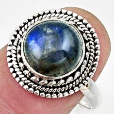 Clearance Sale- 5.21cts natural blue labradorite 925 silver solitaire ring jewelry size 8 d32860