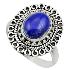 Clearance Sale- 925 silver 4.42cts natural blue lapis lazuli oval solitaire ring size 8 d32869
