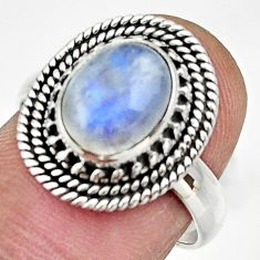 Clearance Sale- 4.23cts natural rainbow moonstone 925 silver solitaire ring size 7 d32875