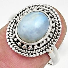 Clearance Sale- 4.08cts natural rainbow moonstone 925 silver solitaire ring size 6.5 d32876