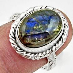 Clearance Sale- 6.56cts natural blue labradorite 925 silver solitaire ring jewelry size 7 d32879