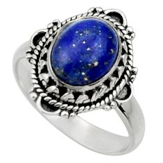 Clearance Sale- 4.47cts natural blue lapis lazuli 925 silver solitaire ring size 7 d32882