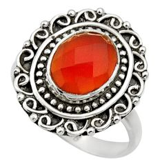 Clearance Sale- 4.22cts natural orange cornelian 925 silver solitaire ring size 7.5 d32887