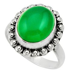 Clearance Sale- 925 silver 5.11cts natural green chalcedony solitaire ring jewelry size 8 d32890