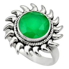 Clearance Sale- 5.53cts natural green chalcedony 925 silver solitaire ring jewelry size 8 d32892