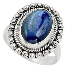 Clearance Sale- 6.57cts natural blue kyanite 925 sterling silver solitaire ring size 8.5 d32894