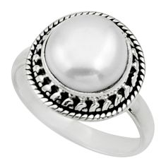 925 sterling silver 4.82cts natural white pearl solitaire ring size 6.5 d32895