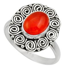 Clearance Sale- 3.32cts natural orange cornelian oval 925 silver solitaire ring size 9 d32896