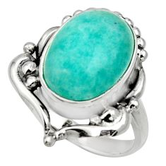 Clearance Sale- 6.01cts natural green peruvian amazonite silver solitaire ring size 7.5 d32897