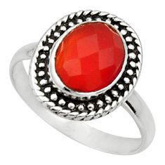 3.83cts natural cornelian (carnelian) 925 silver solitaire ring size 7.5 d32898