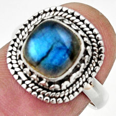 Clearance Sale- 925 silver 3.01cts natural blue labradorite solitaire ring size 6.5 d32899