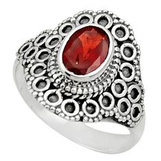 Clearance Sale- 2.12cts natural red garnet 925 sterling silver solitaire ring size 7.5 d32903