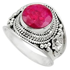 Clearance Sale- 925 sterling silver 5.31cts natural red ruby solitaire ring size 7 d32905