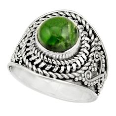 Clearance Sale- 3.14cts natural green chrome diopside 925 silver solitaire ring size 6 d32907
